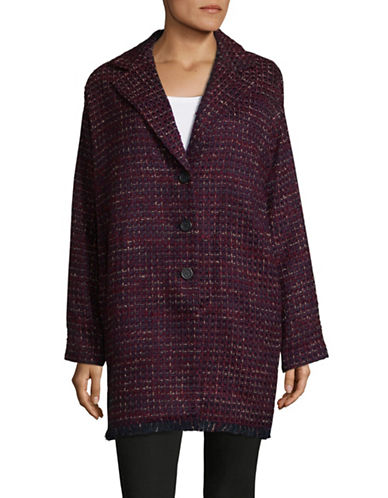 Karl Lagerfeld Paris Tweed Wool-Blend Cocoon Jacket-RED-8