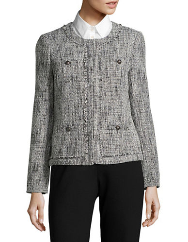 Karl Lagerfeld Paris Tweed Blazer-BLACK-10