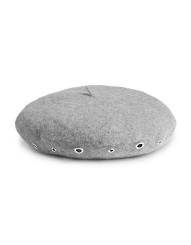 Karl Lagerfeld Paris Studded Wool-Blend Beret-GREY-One Size