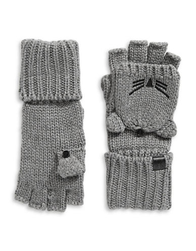 Karl Lagerfeld Paris Choupette Flip-Top Mittens-GREY-One Size
