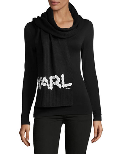 Karl Lagerfeld Paris Floral Logo Scarf-BLACK-One Size