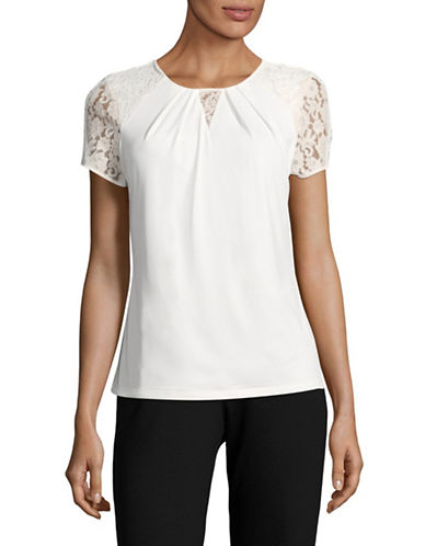Karl Lagerfeld Paris Pleated Lace Blouse-WHITE-Large