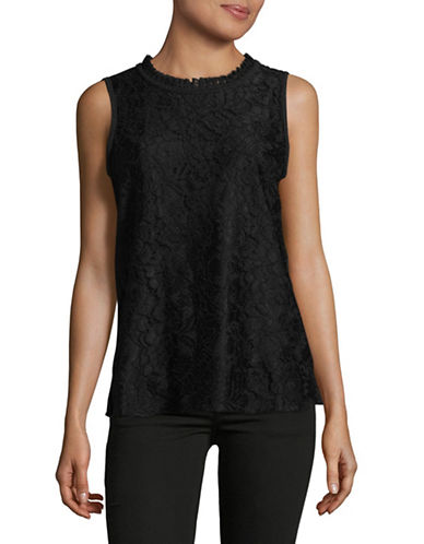 Karl Lagerfeld Paris Floral Lace Sleeveless Blouse-BLACK-Medium