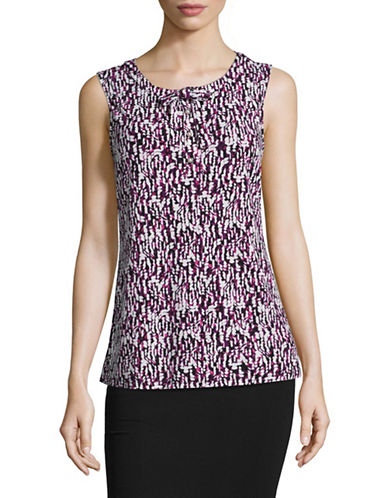 Karl Lagerfeld Paris Sleeveless Bow Neck Top-BERRY-Large