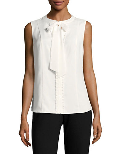 Karl Lagerfeld Paris Keyhole Tie Neck Sleeveless Blouse-WHITE-Small