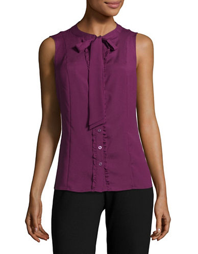 Karl Lagerfeld Paris Keyhole Tie Neck Sleeveless Blouse-PURPLE-Medium