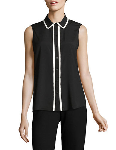 Karl Lagerfeld Paris Sleeveless Button Down Blouse-BLACK-X-Large