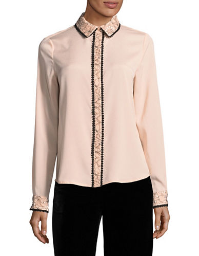 Karl Lagerfeld Paris Embroidered Lace Blouse-PINK-X-Large