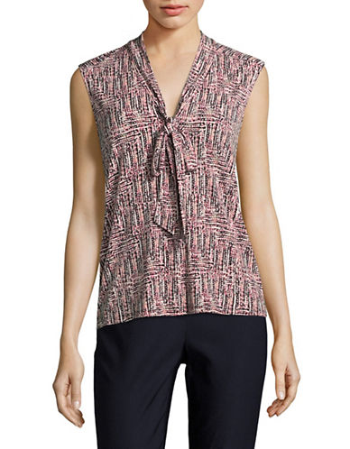 Karl Lagerfeld Paris Printed Jersey Knot Top-PINK MULTI-Small