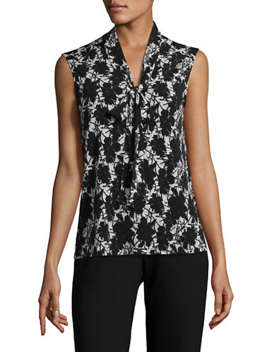 Karl Lagerfeld Paris Printed Jersey Knot Top-BLACK/WHITE-Medium