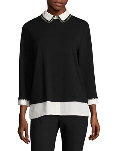Karl Lagerfeld Paris Classic Three-Quarter Sleeve Blouse-BLACK-X-Small