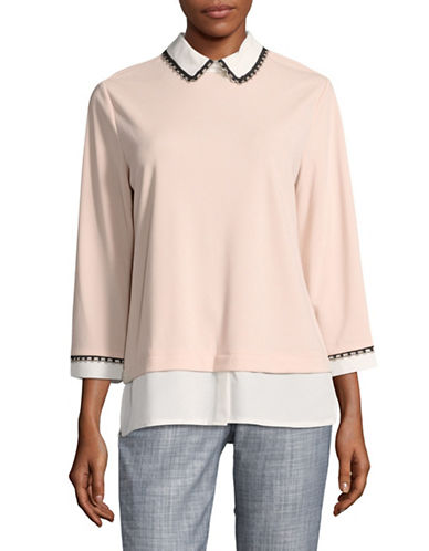 Karl Lagerfeld Paris Embellished Twofer Blouse-PINK-Large