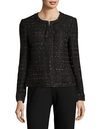 Karl Lagerfeld Paris Multi-Tweed Round Neck Jacket-BLACK-2