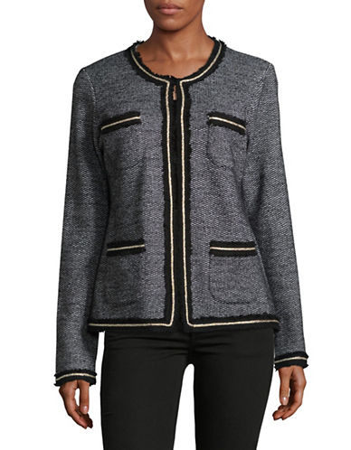 Miscellaneous Four-Pocket Tweed Wool-Blend Jacket-BLACK MULTI-Large