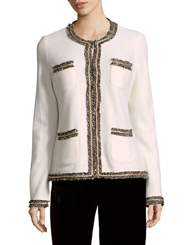 Miscellaneous Tweed Trim Jacket-WHITE-Small
