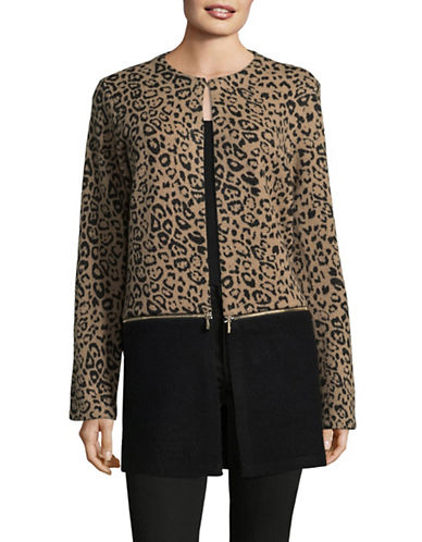 Karl Lagerfeld Paris Leopard Print Wool-Blend Zip-Off Topper-CHEETAH-Medium