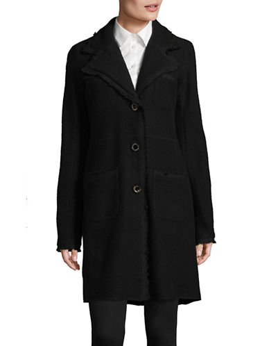 Karl Lagerfeld Paris Fringed Buttoned Coat-BLACK-Large 89494368_BLACK_Large
