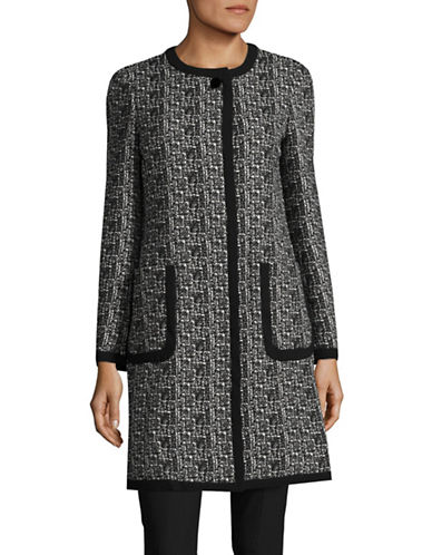 Karl Lagerfeld Paris Tweed Jacquard Topper Coat-BLACK-8