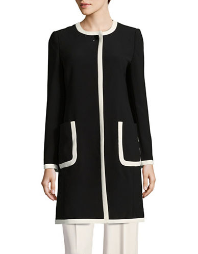 Karl Lagerfeld Paris Karl Crepe Coat-BLACK-2