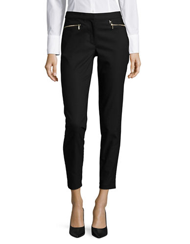 Karl Lagerfeld Paris Zip-Trim Slim Crop Pants-BLACK-6