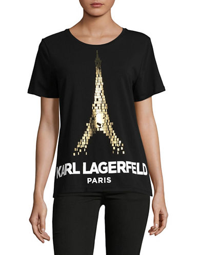 Karl Lagerfeld Paris Logo Foil Eiffel Tower Tee-BLACK/GOLD-Medium