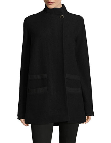 Karl Lagerfeld Paris Boiled Wool Cocoon Coat-BLACK-X-Large