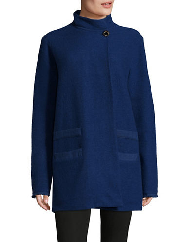 Karl Lagerfeld Paris Boiled Wool Cocoon Coat-BLUE-Small