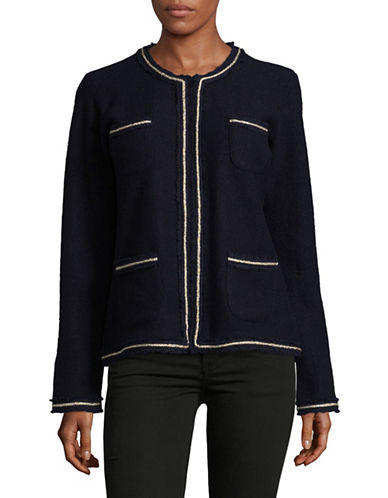 Karl Lagerfeld Paris Wool-Blend Tweed Trim Jacket-BLUE-Large