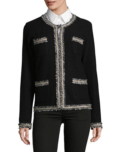 Karl Lagerfeld Paris Wool-Blend Tweed Trim Jacket-BLACK-Large