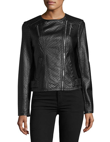Karl Lagerfeld Paris Faux Leather Moto Jacket-BLACK-Medium