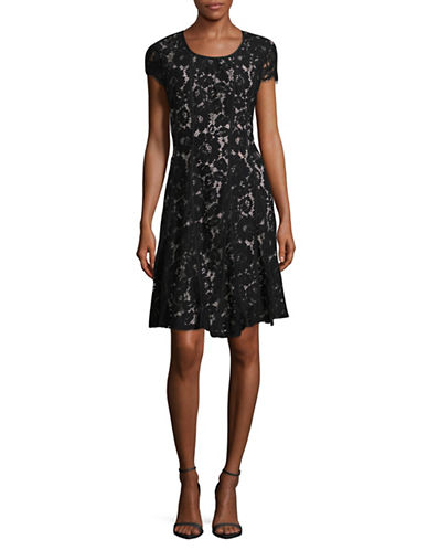 Miscellaneous Lace Fit-and-Flare Dress-BLACK-4