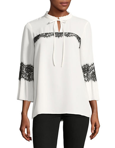 Karl Lagerfeld Paris Bell-Sleeve Ruffle-Collar Blouse-WHITE-X-Large