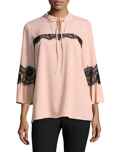 Miscellaneous Bell-Sleeve Ruffle-Collar Blouse-PINK-Small