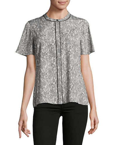 Miscellaneous Lace-Print Pleated-Sleeve Blouse-GREY-X-Small