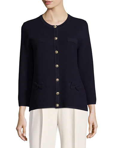 Karl Lagerfeld Paris Ribbed Cardigan with Bow Accents-BLUE-X-Small