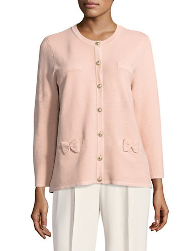 Miscellaneous Long Sleeve Pocket Cardigan-PINK-X-Large