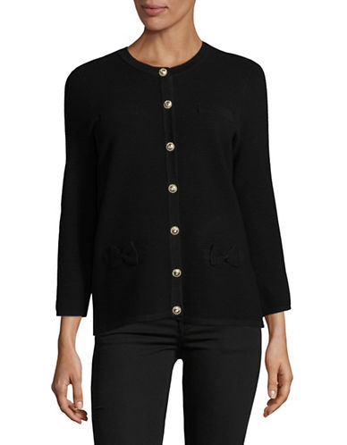 Karl Lagerfeld Paris Ribbed Cardigan with Bow Accents-BLACK-Large