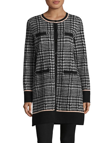 Miscellaneous Houndstooth Long Sweater Cardigan-BLACK/GREY-Small