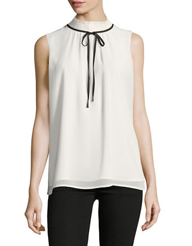 Karl Lagerfeld Paris High Neck Bow Blouse-WHITE-X-Large