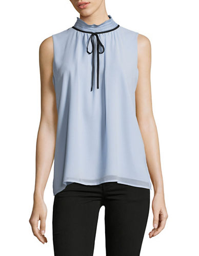 Karl Lagerfeld Paris High Neck Bow Blouse-BLUE-Medium