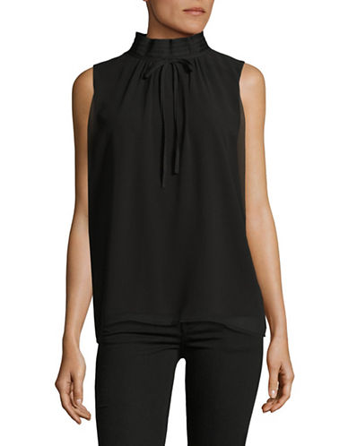 Miscellaneous High Neck Blouse-BLACK-X-Small