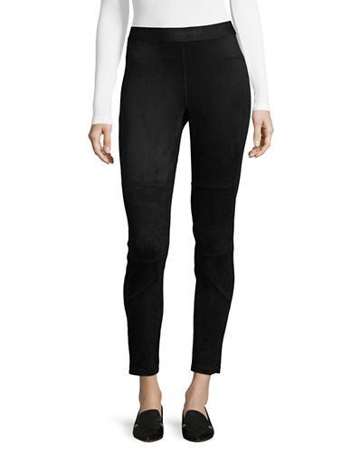 Karl Lagerfeld Paris Faux Suede Moto Leggings-BLACK-X-Small