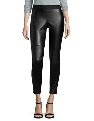 Karl Lagerfeld Paris Moto Leggings-BLACK-Small