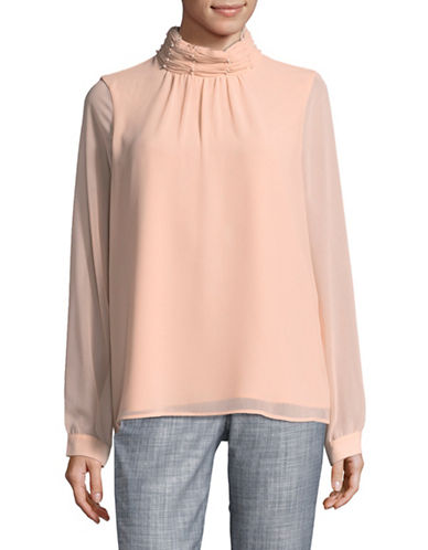 Miscellaneous Ruched Bead Neck Blouse-PINK-Small