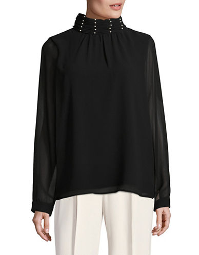 Miscellaneous Ruched Bead Neck Blouse-BLACK-Medium