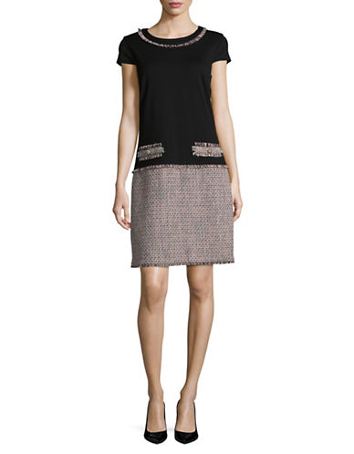 Miscellaneous Short Sleeve Tweed Dress-BLACK/BLUSH-4
