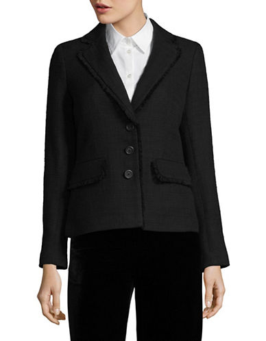 Karl Lagerfeld Paris Tweed Blazer-BLACK-8