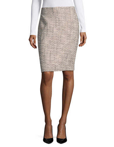 Karl Lagerfeld Paris Tweed Pencil Skirt-PURPLE-8
