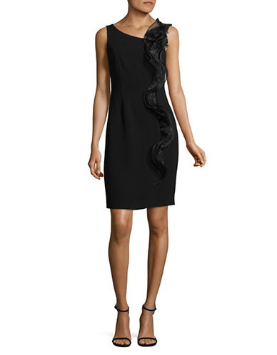 Karl Lagerfeld Paris Ruffled Sleeveless Sheath Dress-BLACK-12