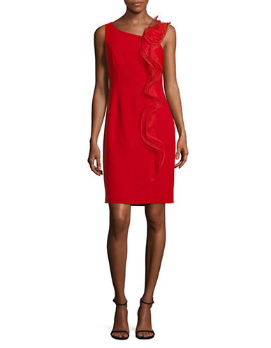 Karl Lagerfeld Paris Ruffled Sleeveless Sheath Dress-RED-10
